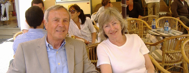 Barry and his late wife Christine, sitting at a bar